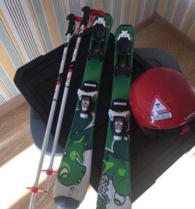 Горные лыжи wedze 80 см. палки и шлем