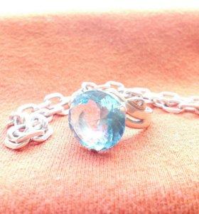 Серебряное кольцо с топазом и браслет