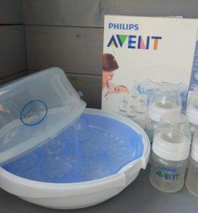 Стерилизатор для СВЧ Philips Avent + 4 бутылочки