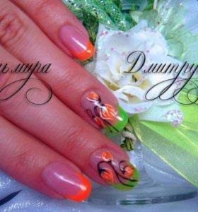 Наращивание ногтей , покрытие шеллак .