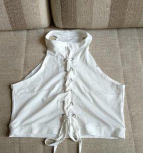 Новый белый женский топ, бралет на шнуровки