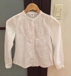 Белая школьная детская рубашка