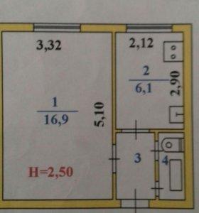 Квартира, 1 комната, 27.4 м²