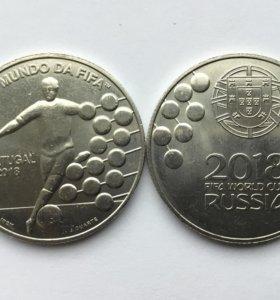 Португалия 2018 год 2,5 евро. ЧМ мира по футболу.