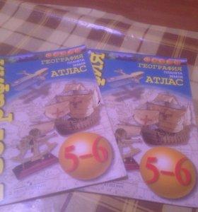 Продам атлас и контурные карты по географии за 5-6
