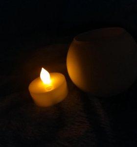 Свеча, электронная, на мезинчиковых батарейках!