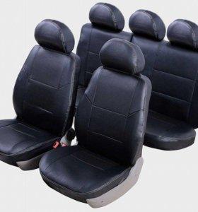 Авточехлы для Nissan Almera черная экокожа