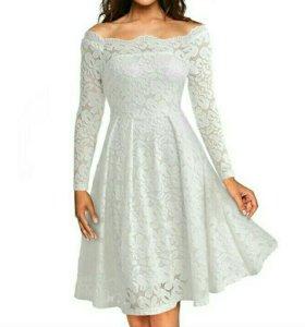 Гипюровое белое платье