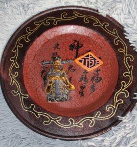 Тарелка деревянная декоративная