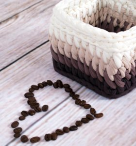 Кофейный набор корзина и салфетница ручной работы