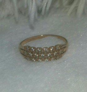 Кольцо позолоченное серебро 925 пр