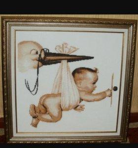 Алмазная картина. Аист и новорожденный