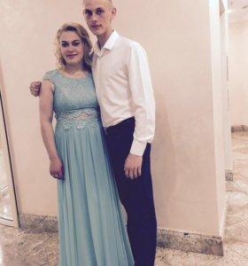 Вечернее платье цвет Тиффани