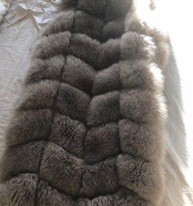 Натуральная меховая жилетка из песца 90 см