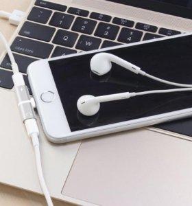 Переходник для iPhone наушники и зарядка