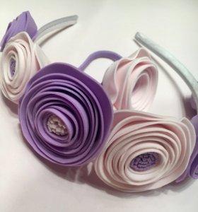 Ободок с цветами и резинка
