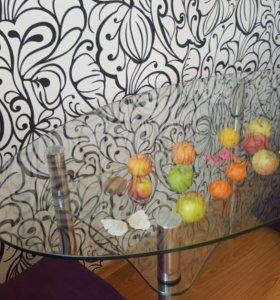 Стол стеклянный овальный на кухню