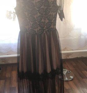 Платье чёрное розовое