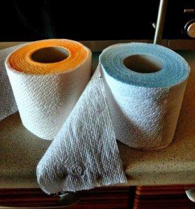 Туалетная бумага 1 слой белая и цветная
