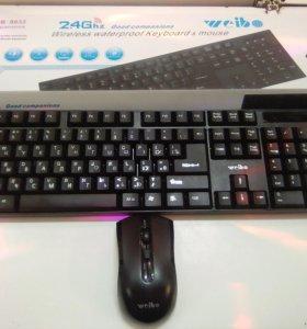 Беспроводная клавиатура и мышка,новая
