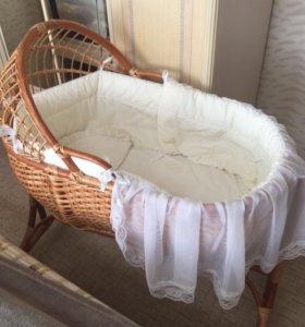Колыбель плетёная из лозы для малышей