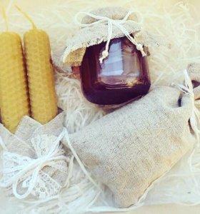 Подарочный набор с мёдом «Лен и кружева»