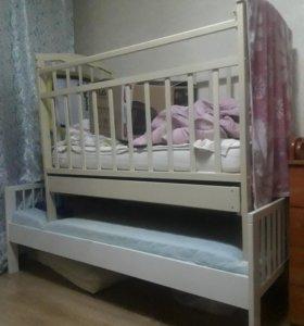 Кровати детские 2 шт. Белая и слоновая кость