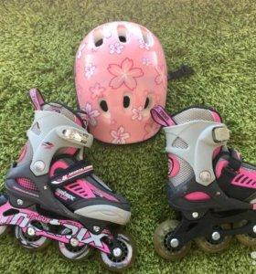 Раздвижные ролики с защитой для девочки