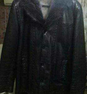 Кожаное куртка зимняя