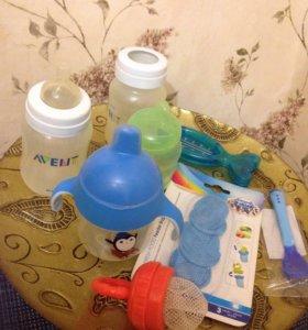Бутылочки, поильник, ложка, ниблер
