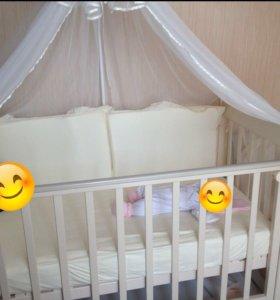 Детская кроватка «Елисей» С717 (Можга), птички.