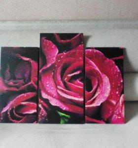 картина модульная Розы