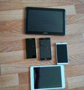 3 телефона, планшет, айпад
