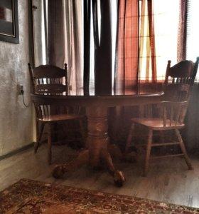 Резной стол и 2 стула