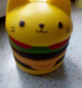 Игрушка сквиши кот бургер