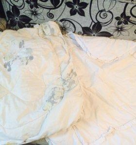Одеяло детское 4 шт + пододеяльник к желтому