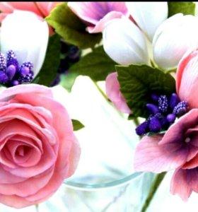 Цветы(фоамиран) на шпильках для причёски