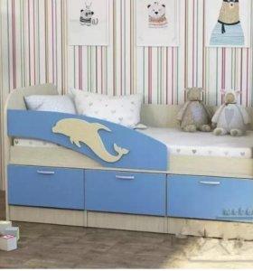 Кроватка детская Дельфин (дуб/зеленый). Акция!