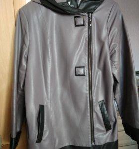 Куртка из экокожи с пояском, 50-52-54