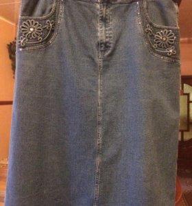 Юбка джинсовая большого размера