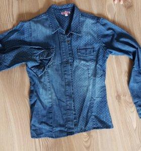 Джинсовая рубашка для девочки 6-7 лет