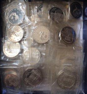 Юбилейные монеты СССР и молодой России пруф и АЦ