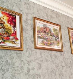 Картины вышитые крестиком (ручная работа)