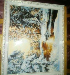 "Картина ""Закат у лесной речки"""