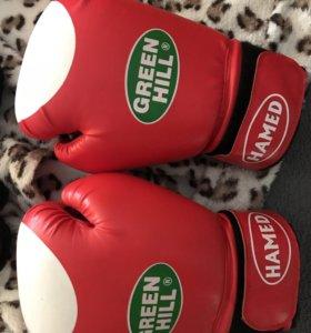 """Боксерские перчатки и шлема""""Green Hill"""""""