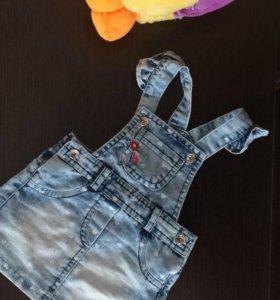 Джинсовый сарафанчик и джинсовые шорты с майкой