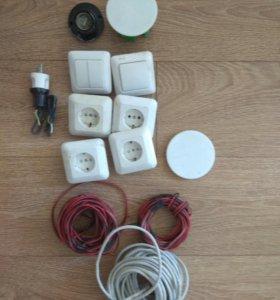 Розетки, выключатели, слаботочка интернет кабель