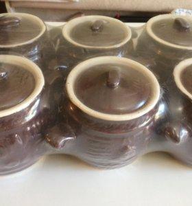 Набор глиняных горшочков для запекания в духовке