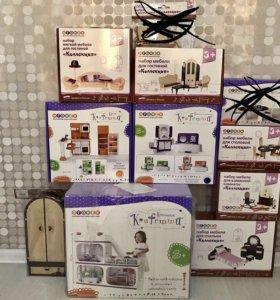 Дом с мебелью для кукол, новый, полный комплект