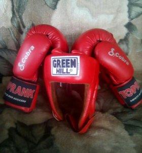 Боксёрские перчатки с шлемом